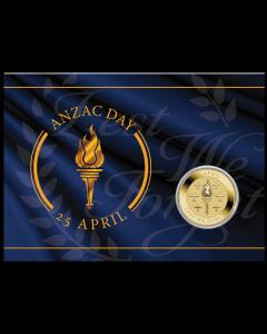 2021 澳洲 纽澳军团日一元铝青铜币(卡装) 13.5克