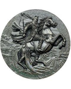 2020年纽埃五虎将军-关羽.999古董银币3盎司