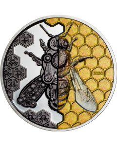 2020蒙古机械蜜蜂 .999超高浮雕银币3盎司