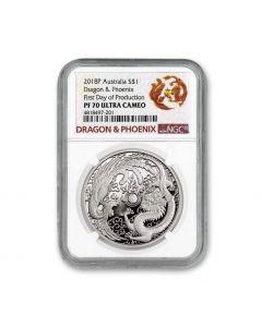 2018 澳洲龙凤呈祥 .9999精铸银币1盎司 (NGC首铸 PF70 Ultra Cameo)