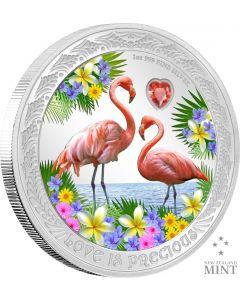 2021 纽埃岛比翼齐心 - 红鹤彩色镶晶 .999精铸银币1盎司