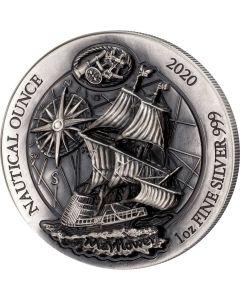 2020 卢旺达大航海時代系列 : 五月花号 .999高浮雕仿古银币 1盎司