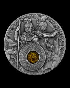 2021  纽埃 阿瑞斯和玛尔斯.999古董银币  2盎司