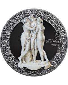 2020 帛琉永恒雕塑系列- 美惠三女神 .999 精铸银币2盎司