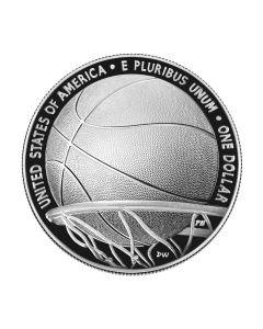 2020年  美国篮球名人纪念堂 .999 精制银币 26.73克