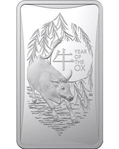 2021 澳洲生肖系列 - 牛年.999 磨砂银锭 1/2盎司